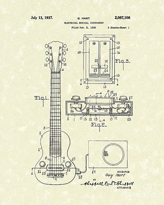 Guitar Drawing - Electric Guitar 1937 Patent Art by Prior Art Design