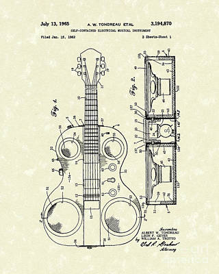 Self Drawing - Electric Guitar 1965 Patent Art by Prior Art Design