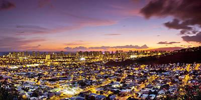 Waikiki Photograph - Electric Honolulu by Sean Davey