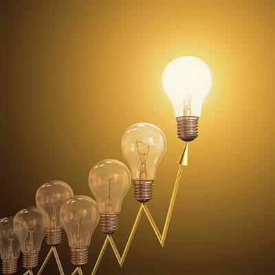 Electric Light Bulbs Print by Ktsdesign