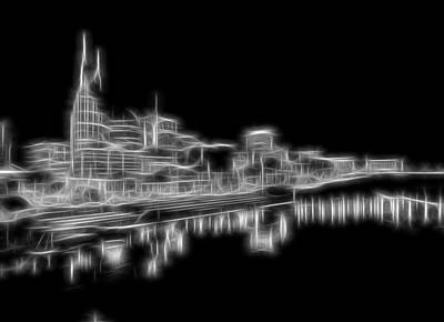 Nashville Skyline Mixed Media - Electric Nashville Skyline At Night by Dan Sproul