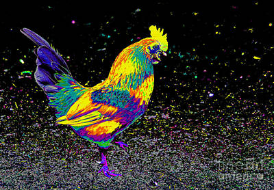 Rooster Photograph - Electric Neon Rooster by Nick Gustafson