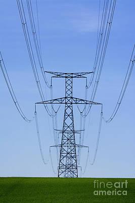 Green Color Photograph - Electric Pole by Bernard Jaubert