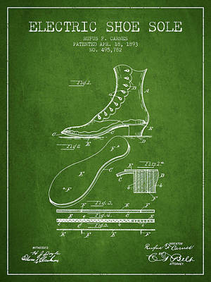 Old Boot Digital Art - Electric Shoe Sole Patent From 1893 - Green by Aged Pixel