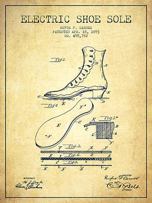 Old Boot Digital Art - Electric Shoe Sole Patent From 1893 - Vintage by Aged Pixel