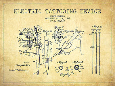 Tattoos Digital Art - Electric Tattooing Device Patent From 1929 - Vintage by Aged Pixel