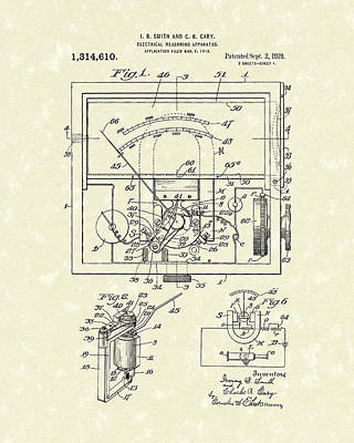 Apparatus Drawing - Electrical Meter 1919 Patent Art by Prior Art Design