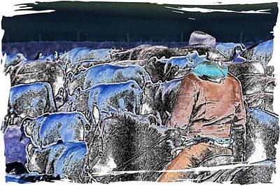 Cattle Drive Digital Art - Electriccowboy by Mel Stone