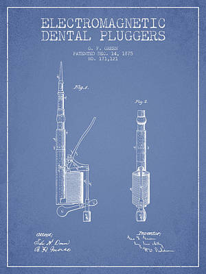 Electromagnetic Dental Pluggers Patent From 1875 - Light Blue Print by Aged Pixel