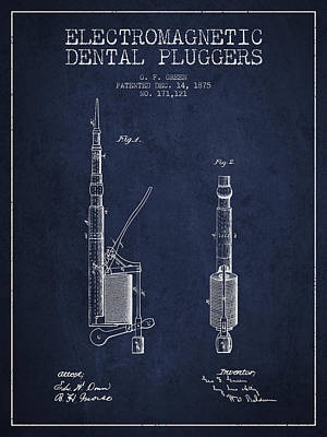 Electromagnetic Dental Pluggers Patent From 1875 - Navy Blue Print by Aged Pixel