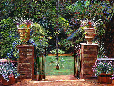Elegant English Garden Print by David Lloyd Glover