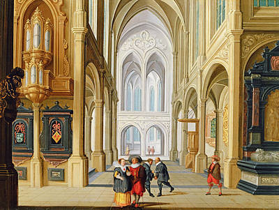 Elegant Figures In A Gothic Church Print by Dirck Van Deelen
