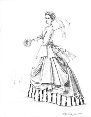 Wedding Dress Drawing - Elegant Lady by Margaryta Yermolayeva