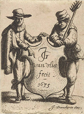 Elegant Man And A Chimney Sweep With A Coat Of Arms Print by Jan Gillisz. Van Vliet And Justus Danckerts