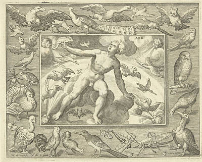 Grasshopper Drawing - Element Air As A Young Man On Clouds Between Flying Birds by Nicolaes De Bruyn And Maerten De Vos