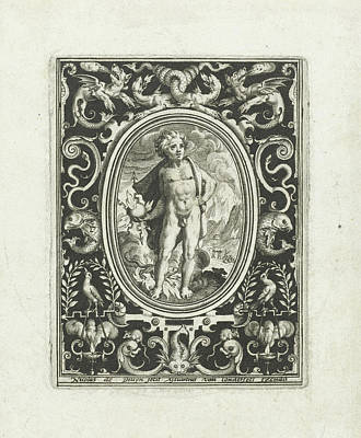 Element Fire As A Young Man Standing With Thunderbolt Print by Nicolaes De Bruyn