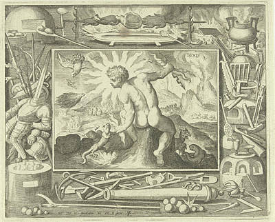 Salamanders Drawing - Element Fire As A Young Man With Lightning by Nicolaes De Bruyn