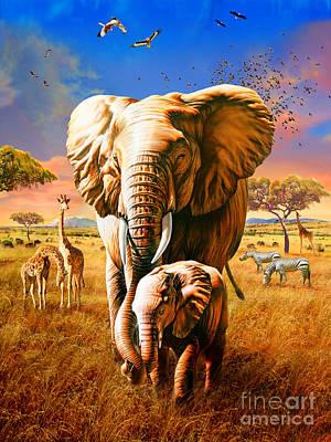 Calf Digital Art - Elephant by Adrian Chesterman