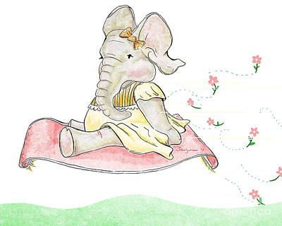 Flower Pink Fairy Child Digital Art - Elephant And The Flying Rug by Steel Goddess