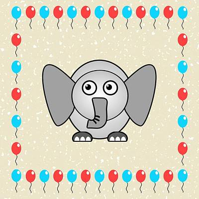 Little Girls Mixed Media - Elephant - Animals - Art For Kids by Anastasiya Malakhova