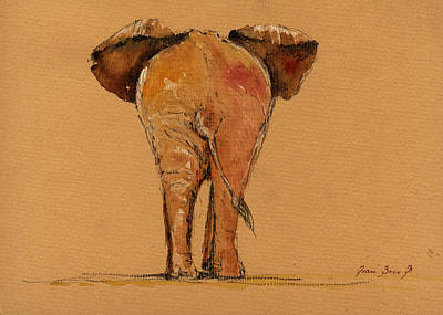 Elephant Back Print by Juan  Bosco