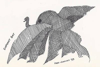 Elephant Bat Print by Fred Jinkins