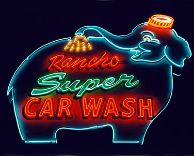 Signage Photograph - Elephant Car Wash Rancho Mirage California by Matthew Bamberg