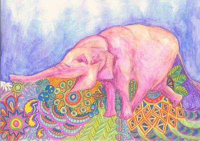 Happy Elephant Painting - Elephant by Cherie Sexsmith