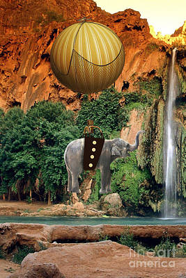 Africa Mixed Media - Elephant Flight by Marvin Blaine