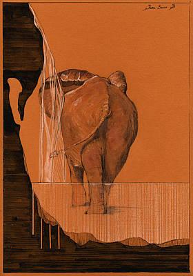 Elephant In River Original by Juan  Bosco