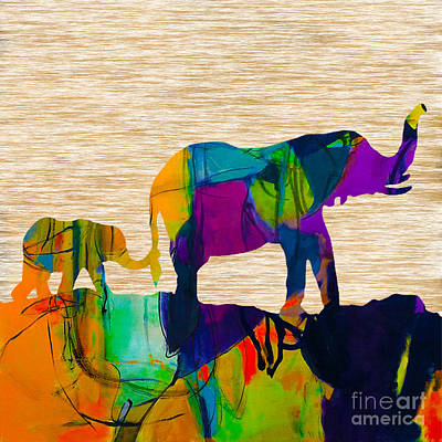 Mammals Mixed Media - Elephant Journey Parent And Child by Marvin Blaine