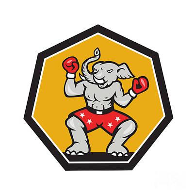 Boxer Digital Art - Elephant Mascot Boxer Cartoon by Aloysius Patrimonio