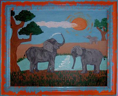 Elephant Paradise  Print by Yvonne  Kroupa