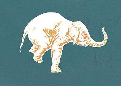 Elephant - Stylised Drawing Art Poster Print by Kim Wang