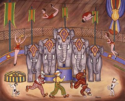 Circus Painting - Elephants And Acrobats by Linda Mears