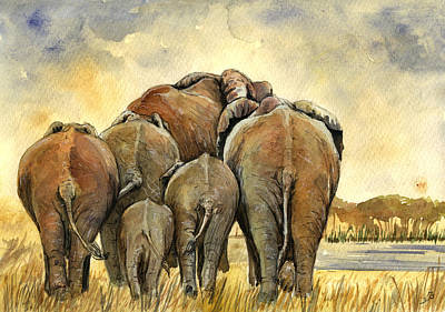 Watercolor Painting - Elephants Herd by Juan  Bosco