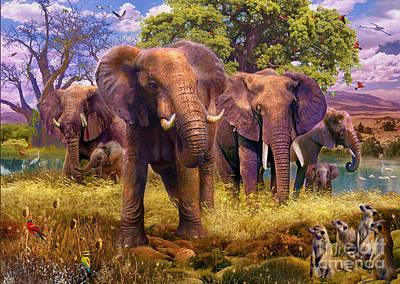 Meerkat Digital Art - Elephants by Jan Patrik Krasny