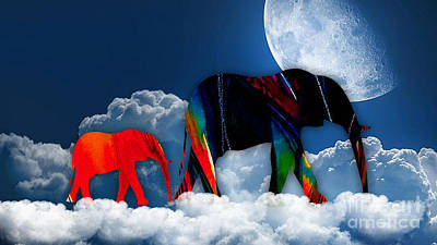 Clouds Mixed Media - Elephants On Cloud 9 by Marvin Blaine