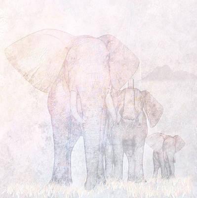 Mother Elephant Digital Art - Elephants - Sketch by John Edwards