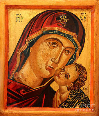 Jesus Christ Icon Painting - Eleusa V  by Ryszard Sleczka
