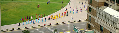 Seoul Photograph - Elevated View Of A Procession by Panoramic Images