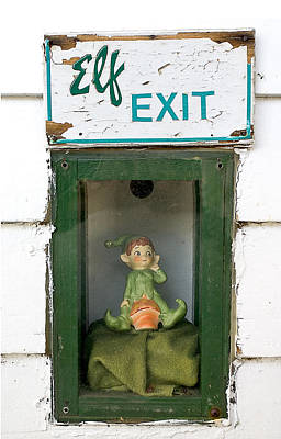 Window Signs Photograph - elf exit, Dubuque, Iowa by Steven Ralser