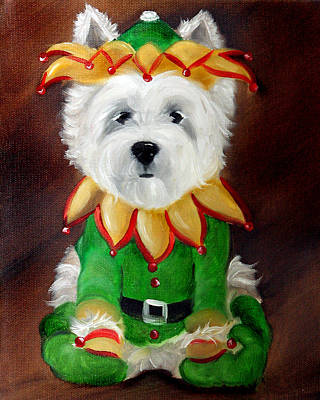 Westie Painting - Elf by Mary Sparrow