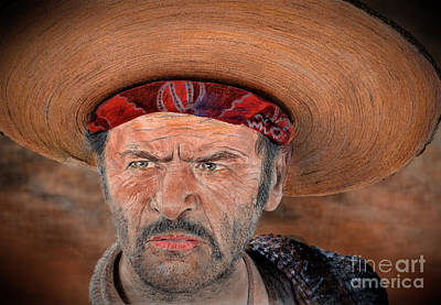 American Drawing - Eli Wallach As Tuco In The Good The Bad And The Ugly Version II by Jim Fitzpatrick