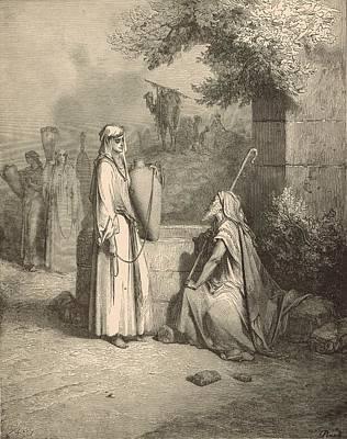Eliezer And Rebekah Print by Antique Engravings