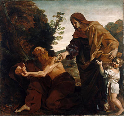 Elijah Painting - Elijah Receiving Bread From The Widow Of Zarephath by Giovanni Lanfranco