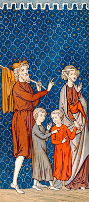 Famine Painting - Elimelech And His Wife Naomi With Their Two Sons by French School