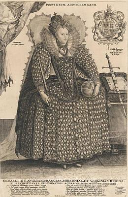 Regalia Drawing - Elizabeth, Queen Of England, C.1603 by Crispin I de Passe