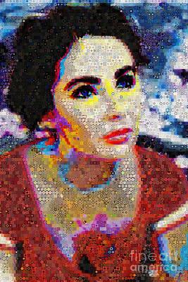 Elizabeth Taylor_abstract_ Collage Original by Johnlijo Bluefish