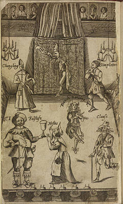 Elizabethan Figures On A Stage Print by British Library